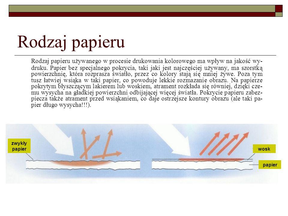 Rodzaj papieru Rodzaj papieru używanego w procesie drukowania kolorowego ma wpływ na jakość wy- druku. Papier bez specjalnego pokrycia, taki jaki jest