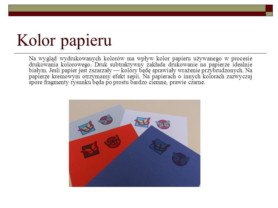 Kolor papieru Na wygląd wydrukowanych kolorów ma wpływ kolor papieru używanego w procesie drukowania kolorowego. Druk subtraktywny zakłada drukowanie