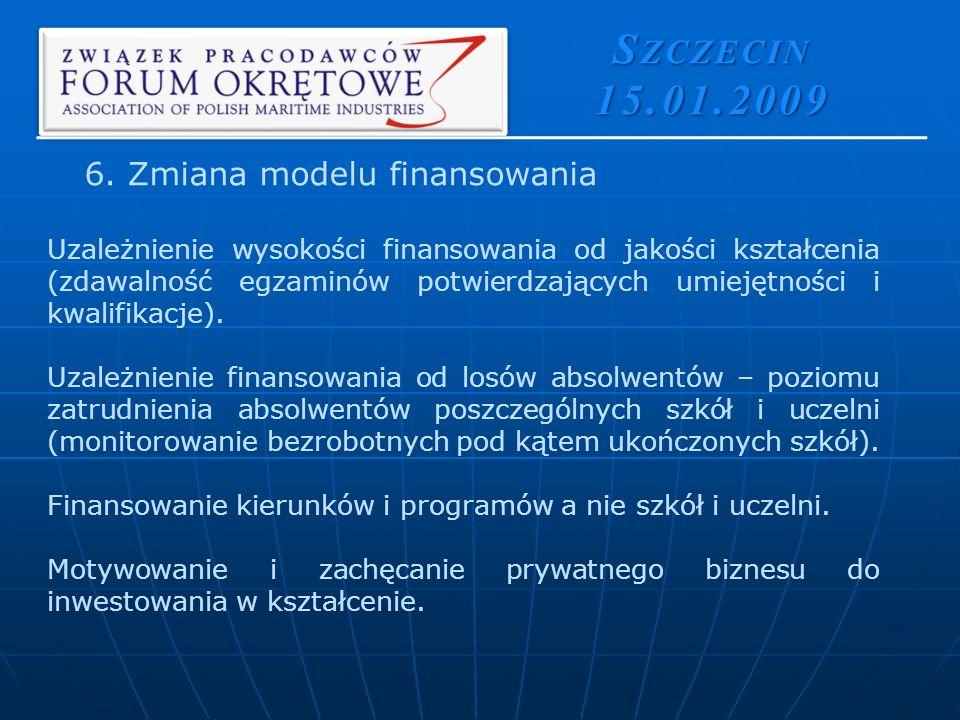 S ZCZECIN 15.01.2009 Uzależnienie wysokości finansowania od jakości kształcenia (zdawalność egzaminów potwierdzających umiejętności i kwalifikacje).