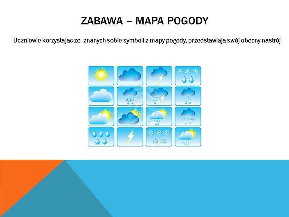 ZABAWA – MAPA POGODY Uczniowie korzystając ze znanych sobie symboli z mapy pogody, przedstawiają swój obecny nastrój