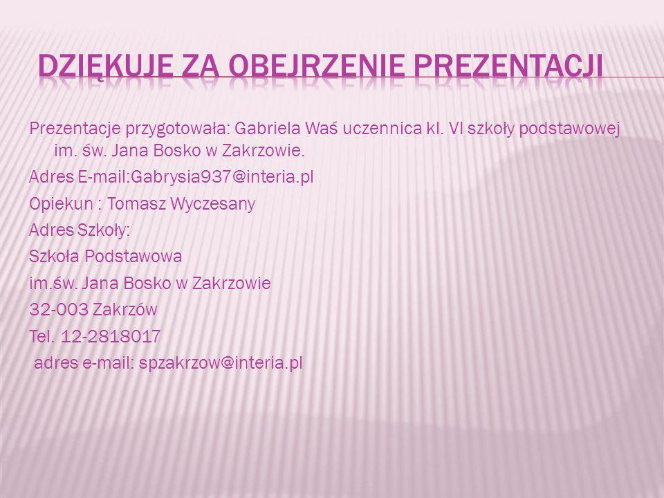 Prezentacje przygotowała: Gabriela Waś uczennica kl. VI szkoły podstawowej im. św. Jana Bosko w Zakrzowie. Adres E-mail:Gabrysia937@interia.pl Opiekun