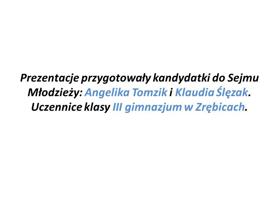 Prezentacje przygotowały kandydatki do Sejmu Młodzieży: Angelika Tomzik i Klaudia Ślęzak. Uczennice klasy III gimnazjum w Zrębicach.