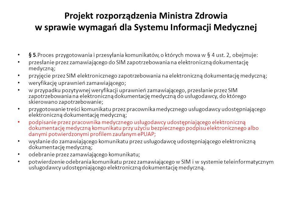 Projekt rozporządzenia Ministra Zdrowia w sprawie wymagań dla Systemu Informacji Medycznej § 5.Proces przygotowania i przesyłania komunikatów, o który