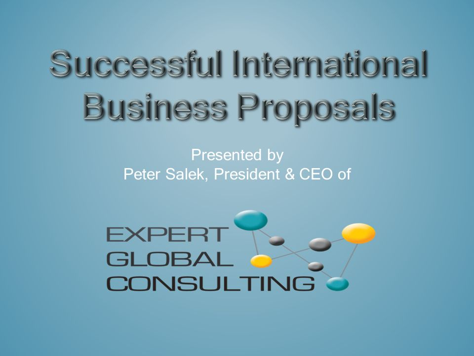 Presented by Peter Salek, President & CEO of