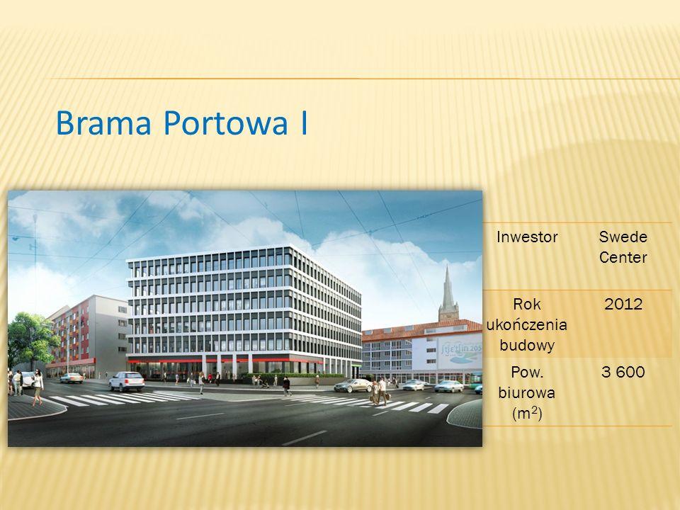 Brama Portowa I InwestorSwede Center Rok ukończenia budowy 2012 Pow. biurowa (m 2 ) 3 600