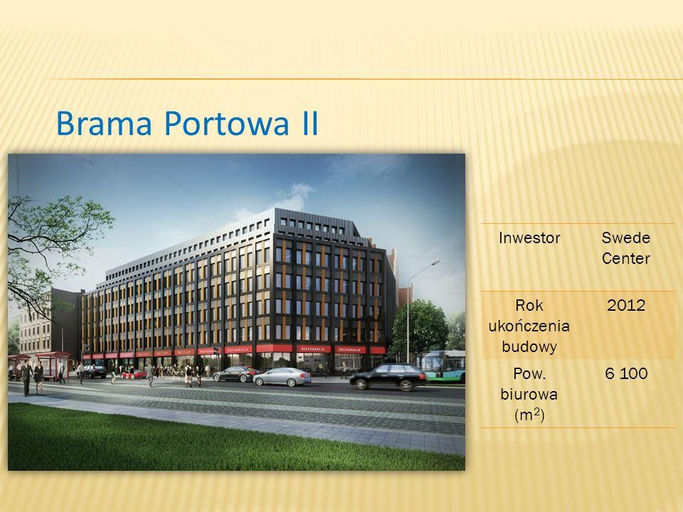 Brama Portowa II InwestorSwede Center Rok ukończenia budowy 2012 Pow. biurowa (m 2 ) 6 100