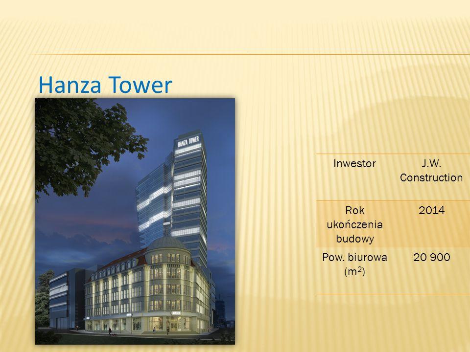 Hanza Tower InwestorJ.W. Construction Rok ukończenia budowy 2014 Pow. biurowa (m 2 ) 20 900