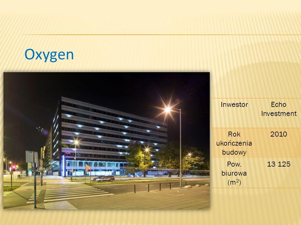 Oxygen InwestorEcho Investment Rok ukończenia budowy 2010 Pow. biurowa (m 2 ) 13 125