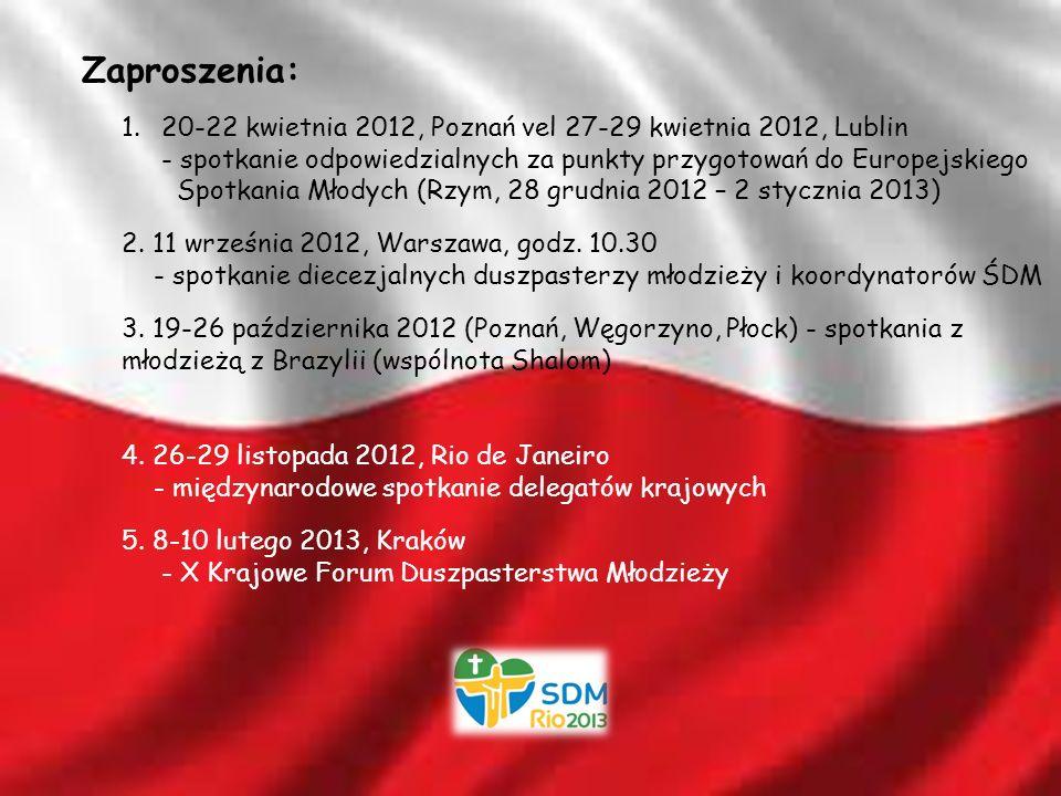Zaproszenia: 1.20-22 kwietnia 2012, Poznań vel 27-29 kwietnia 2012, Lublin - spotkanie odpowiedzialnych za punkty przygotowań do Europejskiego Spotkania Młodych (Rzym, 28 grudnia 2012 – 2 stycznia 2013) 2.