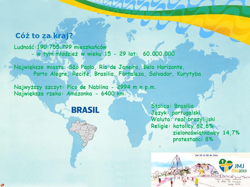 Ludność:190.755.799 mieszkańców - w tym młodzież w wieku 15 - 29 lat: 60.000.000 Największe miasta: São Paolo, Rio de Janeiro, Belo Horizonte, Porto Alegre, Recife, Brasilia, Fortaleza, Salvador, Kurytyba Najwyższy szczyt: Pico de Nablina - 2994 m n.p.m.