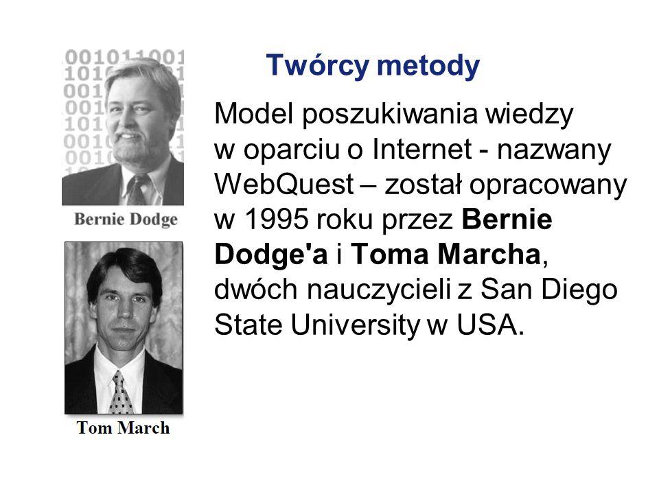 Twórcy metody Model poszukiwania wiedzy w oparciu o Internet - nazwany WebQuest – został opracowany w 1995 roku przez Bernie Dodge'a i Toma Marcha, dw