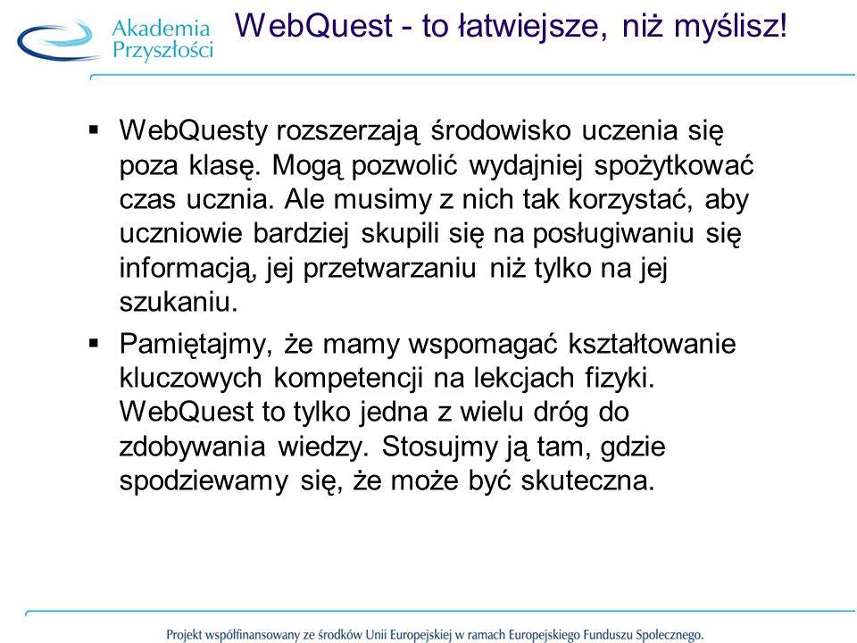 WebQuest - to łatwiejsze, niż myślisz! WebQuesty rozszerzają środowisko uczenia się poza klasę. Mogą pozwolić wydajniej spożytkować czas ucznia. Ale m