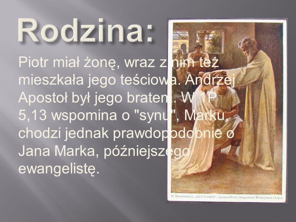 Piotr miał żonę, wraz z nim też mieszkała jego teściowa. Andrzej Apostoł był jego bratem. W 1P 5,13 wspomina o