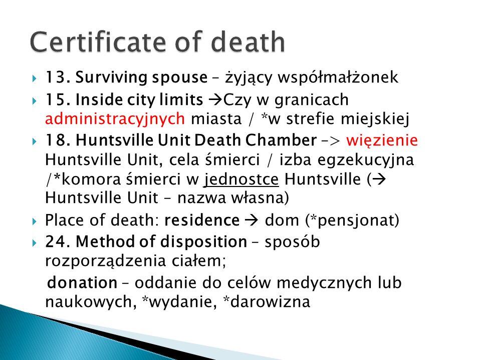 13. Surviving spouse – żyjący współmałżonek 15. Inside city limits Czy w granicach administracyjnych miasta / *w strefie miejskiej 18. Huntsville Unit