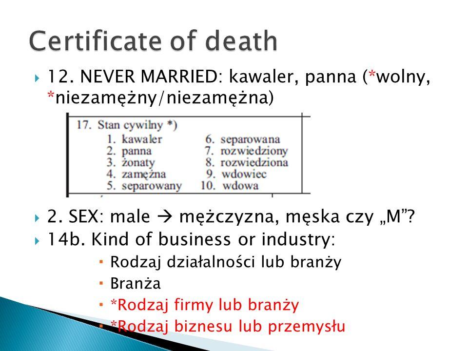 12. NEVER MARRIED: kawaler, panna (*wolny, *niezamężny/niezamężna) 2. SEX: male mężczyzna, męska czy M? 14b. Kind of business or industry: Rodzaj dzia