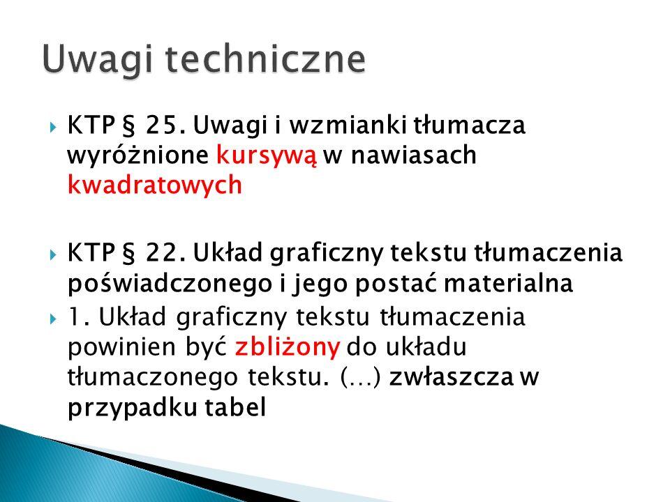 KTP § 25. Uwagi i wzmianki tłumacza wyróżnione kursywą w nawiasach kwadratowych KTP § 22. Układ graficzny tekstu tłumaczenia poświadczonego i jego pos