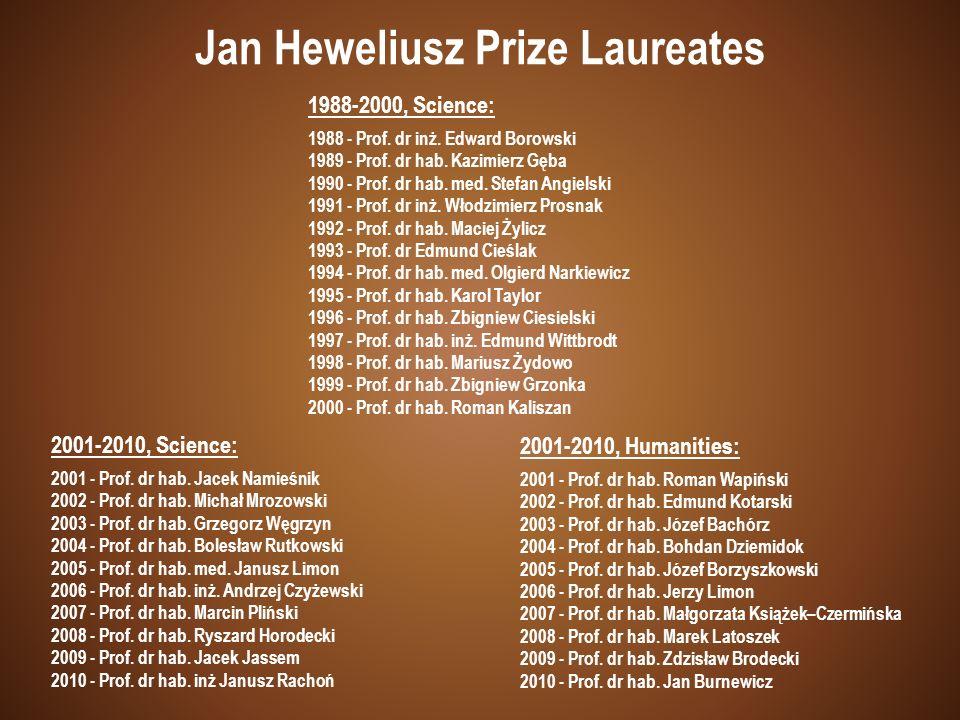 1988-2000, Science: 1988 - Prof. dr inż. Edward Borowski 1989 - Prof. dr hab. Kazimierz Gęba 1990 - Prof. dr hab. med. Stefan Angielski 1991 - Prof. d