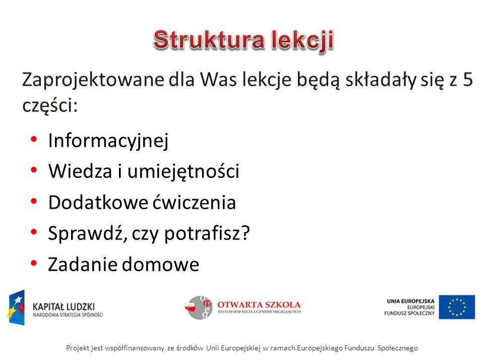 Informacyjnej Wiedza i umiejętności Dodatkowe ćwiczenia Sprawdź, czy potrafisz.