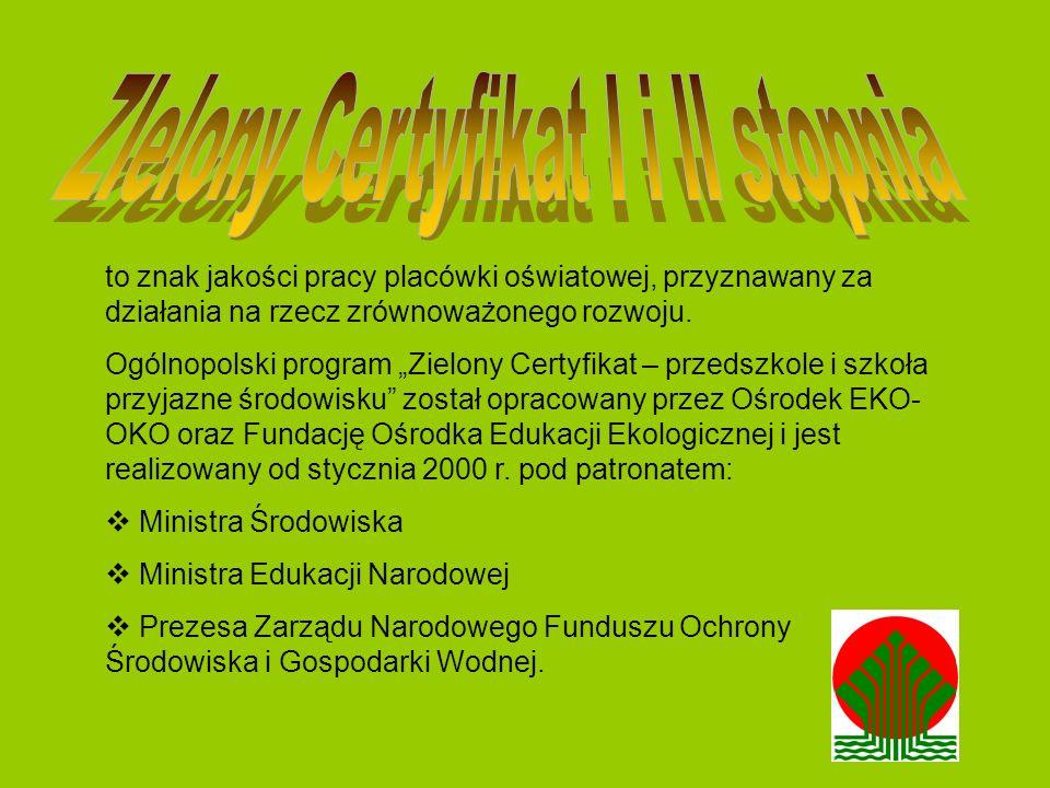 to znak jakości pracy placówki oświatowej, przyznawany za działania na rzecz zrównoważonego rozwoju. Ogólnopolski program Zielony Certyfikat – przedsz