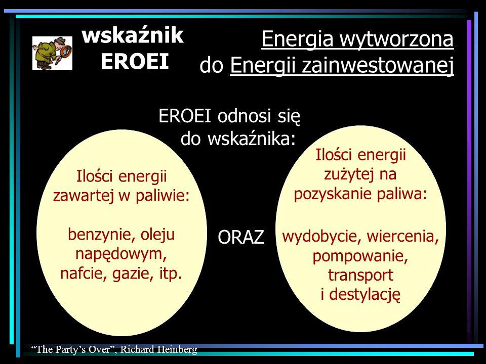 Energia wytworzona do Energii zainwestowanej EROEI odnosi się do wskaźnika: Ilości energii zużytej na pozyskanie paliwa: wydobycie, wiercenia, pompowa
