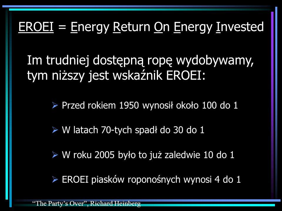 EROEI = Energy Return On Energy Invested Przed rokiem 1950 wynosił około 100 do 1 W latach 70-tych spadł do 30 do 1 W roku 2005 było to już zaledwie 1