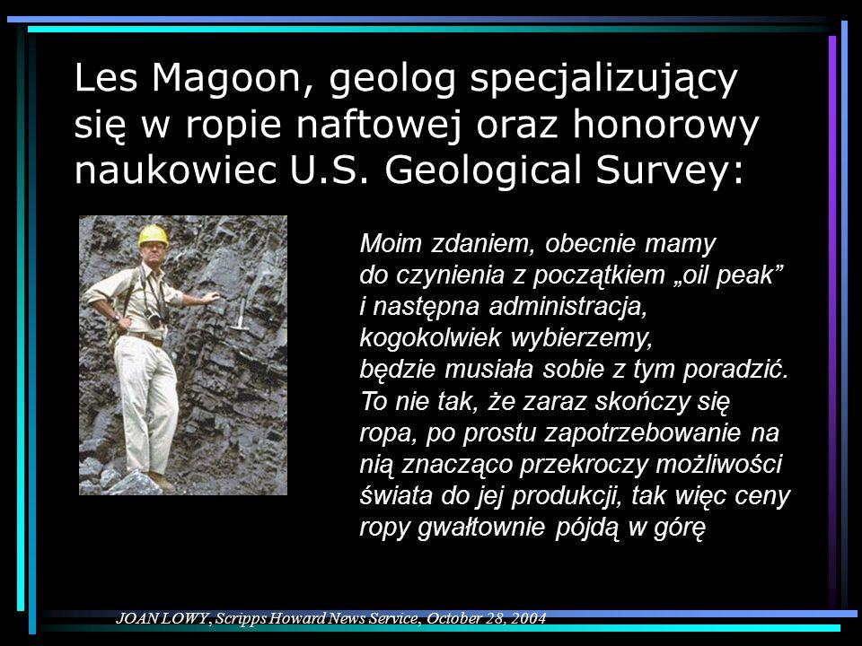 Les Magoon, geolog specjalizujący się w ropie naftowej oraz honorowy naukowiec U.S. Geological Survey: JOAN LOWY, Scripps Howard News Service, October