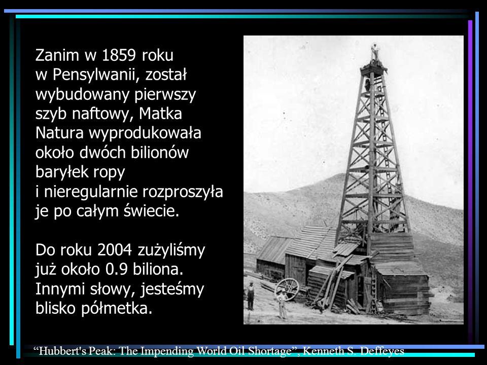 …a kiedy oil peak wreszcie nastąpi, produkcja ropy będzie malała z każdym rokiem… …to właśnie eksperci od ropy nazywają oil peak http://www.oilcrisis.com/ Pamiętaj, że zużyliśmy już prawie połowę światowych zasobów ropy.