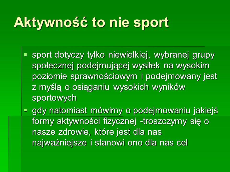 Aktywność to nie sport sport dotyczy tylko niewielkiej, wybranej grupy społecznej podejmującej wysiłek na wysokim poziomie sprawnościowym i podejmowany jest z myślą o osiąganiu wysokich wyników sportowych sport dotyczy tylko niewielkiej, wybranej grupy społecznej podejmującej wysiłek na wysokim poziomie sprawnościowym i podejmowany jest z myślą o osiąganiu wysokich wyników sportowych gdy natomiast mówimy o podejmowaniu jakiejś formy aktywności fizycznej -troszczymy się o nasze zdrowie, które jest dla nas najważniejsze i stanowi ono dla nas cel gdy natomiast mówimy o podejmowaniu jakiejś formy aktywności fizycznej -troszczymy się o nasze zdrowie, które jest dla nas najważniejsze i stanowi ono dla nas cel