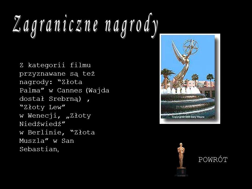 Z kategorii filmu przyznawane są też nagrody: Złota Palma w Cannes (Wajda dostał Srebrną), Złoty Lew w Wenecji, Złoty Niedźwiedź w Berlinie, Złota Mus