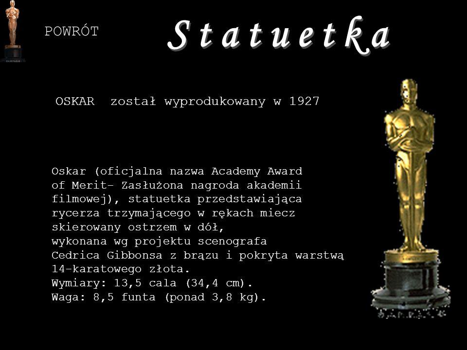 OSKAR został wyprodukowany w 1927 Oskar (oficjalna nazwa Academy Award of Merit- Zasłużona nagroda akademii filmowej), statuetka przedstawiająca rycer