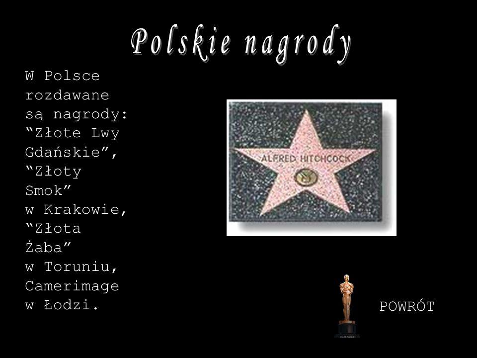 W Polsce rozdawane są nagrody: Złote Lwy Gdańskie, Złoty Smok w Krakowie, Złota Żaba w Toruniu, Camerimage w Łodzi. POWRÓT