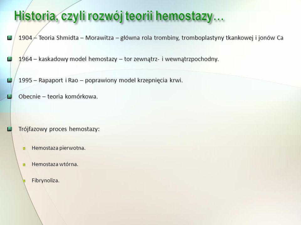 1904 – Teoria Shmidta – Morawitza – główna rola trombiny, tromboplastyny tkankowej i jonów Ca 1964 – kaskadowy model hemostazy – tor zewnątrz- i wewną