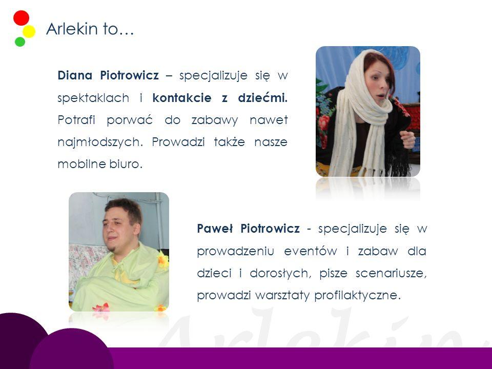 Arlekin Arlekin to… Diana Piotrowicz – specjalizuje się w spektaklach i kontakcie z dziećmi. Potrafi porwać do zabawy nawet najmłodszych. Prowadzi tak