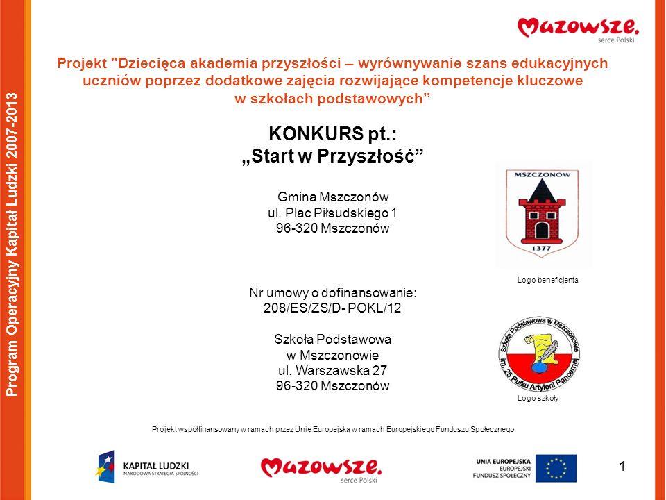1 Program Operacyjny Kapitał Ludzki 2007-2013 Projekt