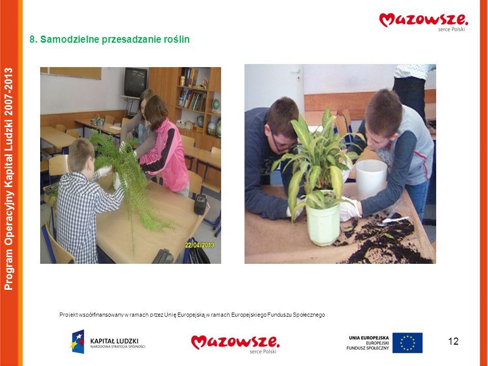 12 8. Samodzielne przesadzanie roślin Projekt współfinansowany w ramach przez Unię Europejską w ramach Europejskiego Funduszu Społecznego Program Oper