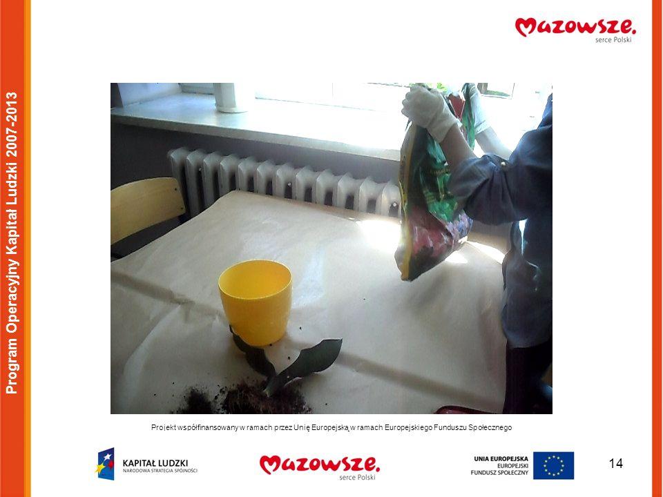 14 Projekt współfinansowany w ramach przez Unię Europejską w ramach Europejskiego Funduszu Społecznego Program Operacyjny Kapitał Ludzki 2007-2013