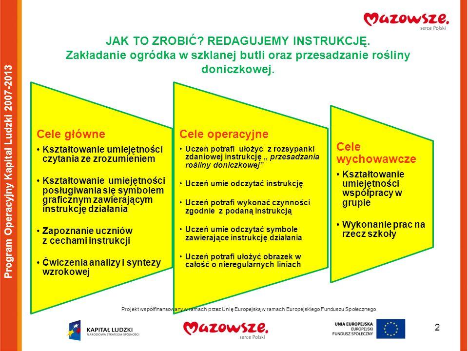 13 Projekt współfinansowany w ramach przez Unię Europejską w ramach Europejskiego Funduszu Społecznego Program Operacyjny Kapitał Ludzki 2007-2013