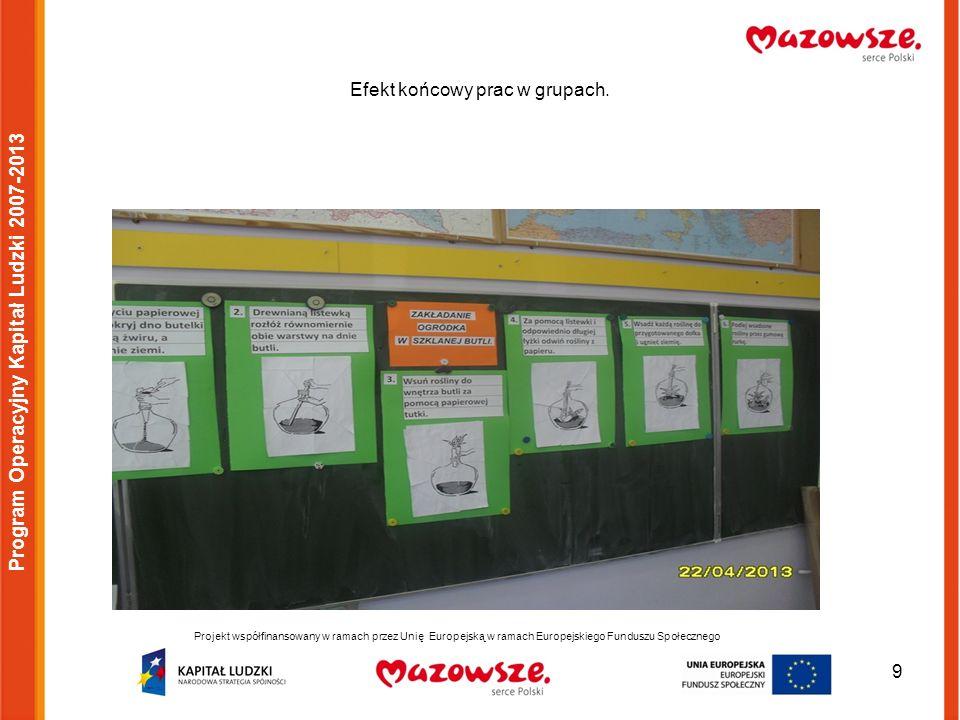 9 Efekt końcowy prac w grupach. Program Operacyjny Kapitał Ludzki 2007-2013 Projekt współfinansowany w ramach przez Unię Europejską w ramach Europejsk