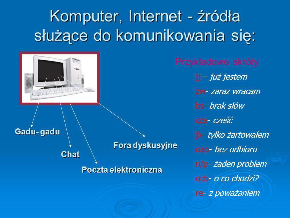 Komputer, Internet - źródła służące do komunikowania się: jj – już jestem zw- zaraz wracam bs- brak słów cze- cześć jk- tylko żartowałem oao- bez odbi