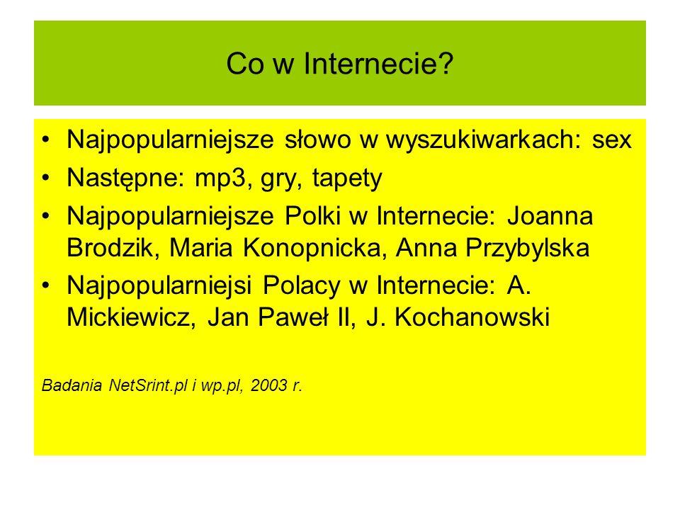 Co w Internecie? Najpopularniejsze słowo w wyszukiwarkach: sex Następne: mp3, gry, tapety Najpopularniejsze Polki w Internecie: Joanna Brodzik, Maria