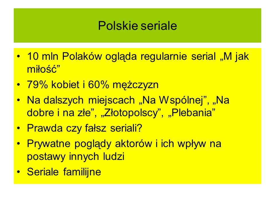 Polskie seriale 10 mln Polaków ogląda regularnie serial M jak miłość 79% kobiet i 60% mężczyzn Na dalszych miejscach Na Wspólnej, Na dobre i na złe, Z