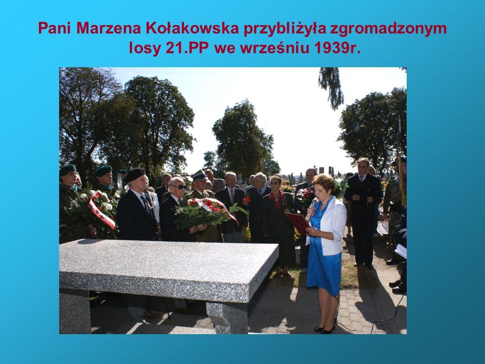 Pani Marzena Kołakowska przybliżyła zgromadzonym losy 21.PP we wrześniu 1939r.