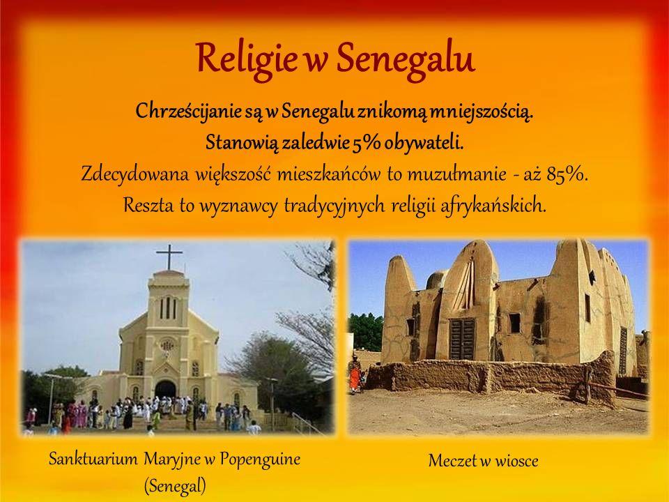 Religie w Senegalu Chrześcijanie są w Senegalu znikomą mniejszością. Stanowią zaledwie 5% obywateli. Zdecydowana większość mieszkańców to muzułmanie -