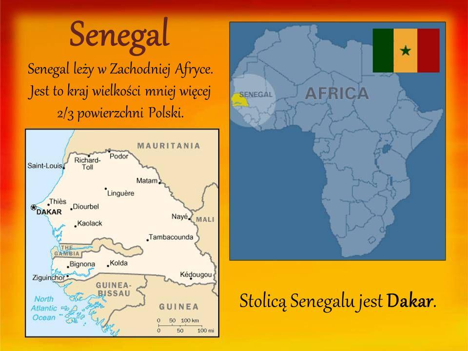Senegal Senegal leży w Zachodniej Afryce. Jest to kraj wielkości mniej więcej 2/3 powierzchni Polski. Stolicą Senegalu jest Dakar.