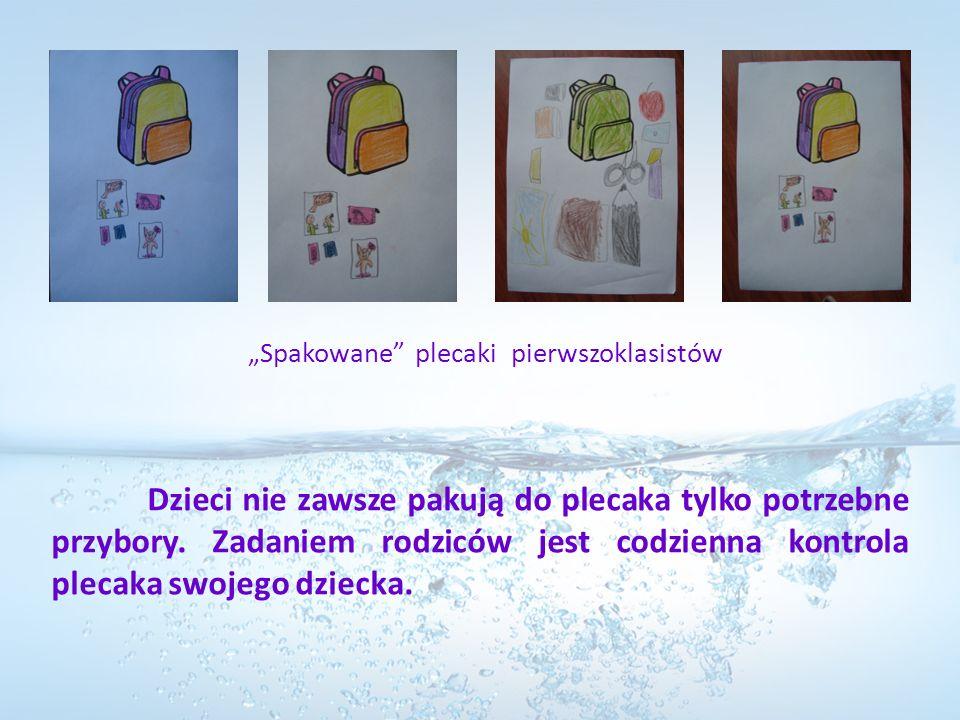 Dzieci nie zawsze pakują do plecaka tylko potrzebne przybory. Zadaniem rodziców jest codzienna kontrola plecaka swojego dziecka. Spakowane plecaki pie