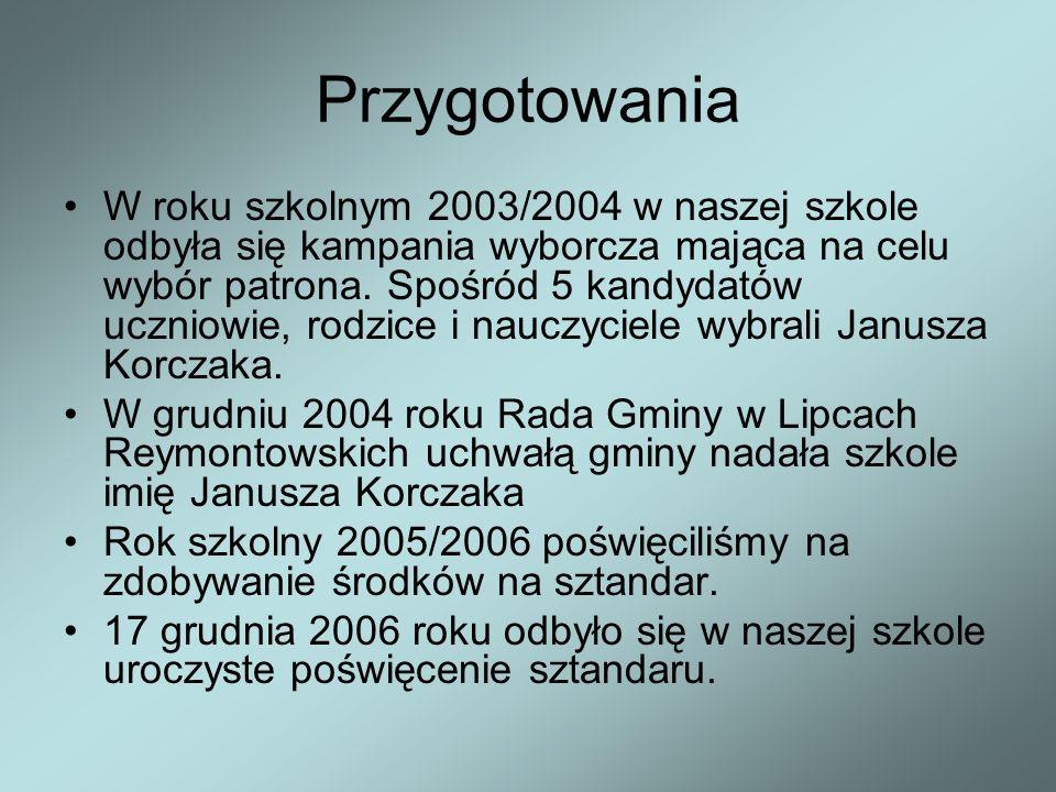 Przygotowania W roku szkolnym 2003/2004 w naszej szkole odbyła się kampania wyborcza mająca na celu wybór patrona.