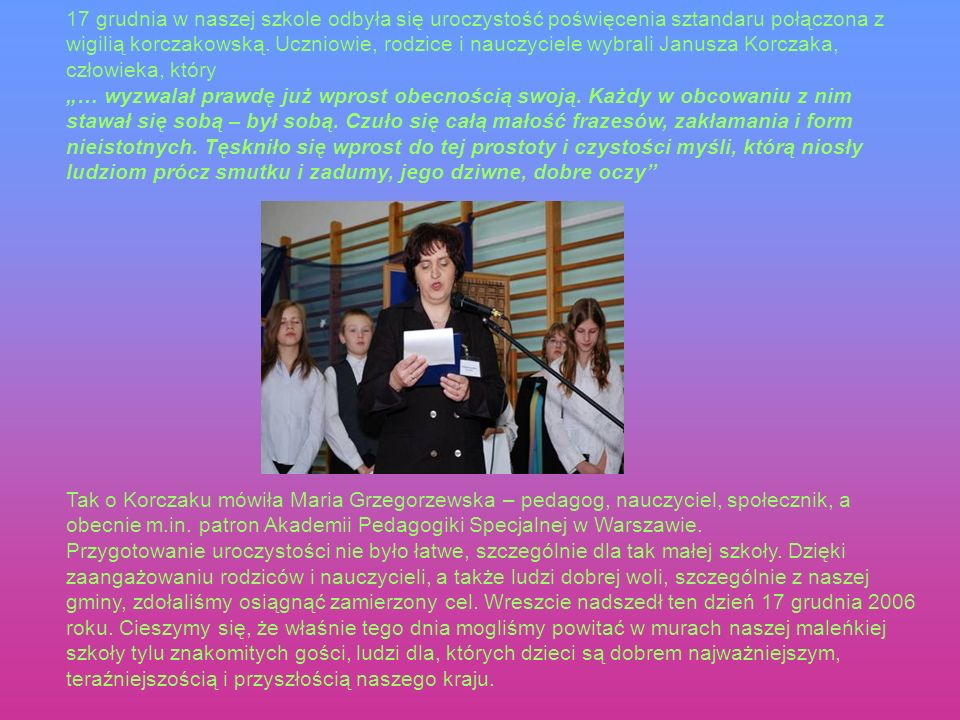 Powitanie gości – A.Murgrabia, M. Antoniak nauczycielki Szkoły Podstawowej im.