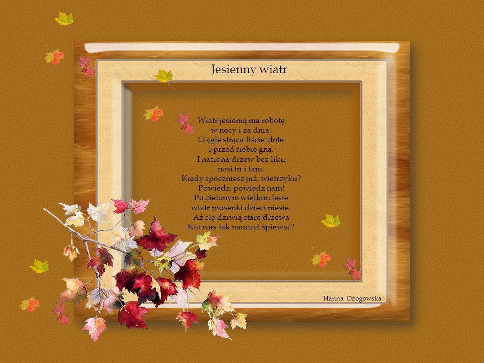 Jesienny wiatr Wiatr jesienią ma robotę w nocy i za dnia. Ciągle strąca liście złote i przed siebie gna. I nasiona drzew bez liku nosi tu i tam. Kiedy