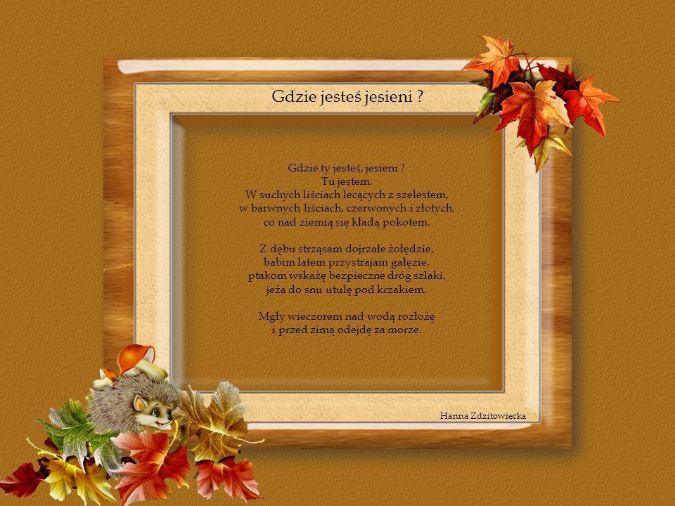 Gdzie jesteś jesieni ? Gdzie ty jesteś, jesieni ? Tu jestem. W suchych liściach lecących z szelestem, w barwnych liściach, czerwonych i złotych, co na