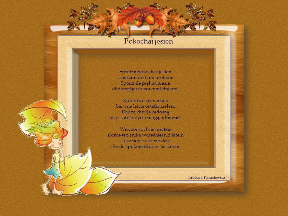 Pokochaj jesień Tadeusz Karasiewicz Spróbuj pokochać jesień z niesamowitymi urokami Spójrz ile piękna niesie obdarzając cię nowymi dniami. Kolorowo ja